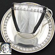 Antique French Sterling Silver Oversized Chocolate, Coffee or Tea Cup & Saucer Set, Vermeil Interior