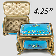 Fine Antique French 19th C. Kiln-fired Enamel Jewelry Casket, TAHAN, Sevres Enamel