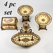 RARE 4 pc Set, Antique French Kiln-fired Enamel Box, Casket, Inkwell, 2 Bon Bon, Tazza, Sevres