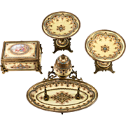 RARE 4 pc Set, Antique French Kiln-fired Enamel Box, Casket, Inkwell, 2 Bon Bon, Tazza, Sevres