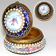 Fine Antique French Bresse Kiln-fired Enamel Patch Box, Pill or Snuff, 'Jeweled', HP Bird & Flowers