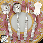 "Antique French Sterling Silver 4pc Hors d'Oeuvre Serving Set, Empire or Classical Pattern, ""CD"" Monograms"