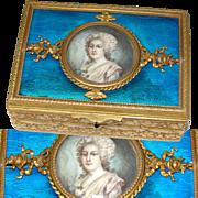 Antique Napoleon III Era Gilt Bronze & Guilloche Enamel Jewel Casket Box, Portrait Miniature