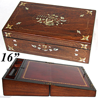 """Exquisite Antique Napoleon III Era 16"""" Rosewood Writer's Campaign Box, Lap Desk, Slope: Figural Mother of Pearl & Brass Inlay"""