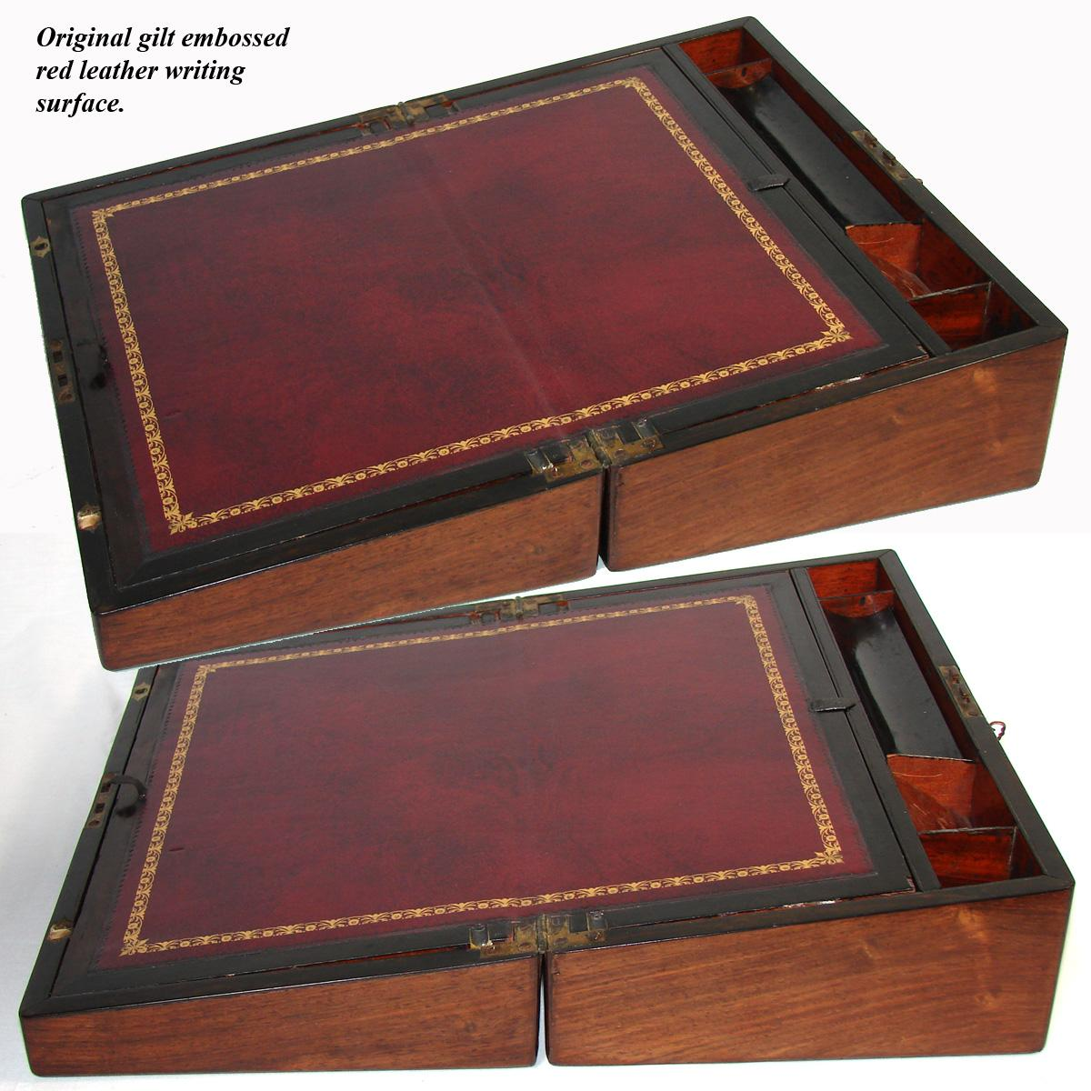 Antique Napoleon Iii Era 16 Rosewood Writer S Campaign Box Lap Desk Slope Figural Mother Of Pearl Brass Inlay