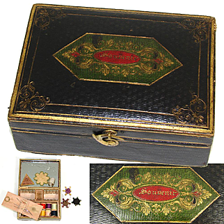 """Rare Antique 1838 Marked Embossed Leather Sewing Necessaire, Etui, """"Souvenir"""" Inscription, Sterling Thimble +"""