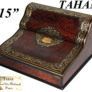 """Fine Antique French TAHAN Marked 15"""" Writer's Box, Ecritoire, Lap Desk: Burled with Ornate Brass Inlays"""