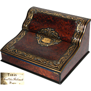 "Fine Antique French TAHAN Marked 15"" Writer's Box, Ecritoire, Lap Desk: Burled with Ornate Brass Inlays"