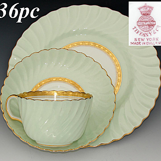 "Fabulous Vintage Minton for Tiffany & Co. 36pc Tea Cup, Saucer & 8"" Dessert Plate Set, ""Somerset Green"" Pattern, Gold Enamel"