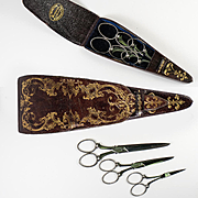 Fine Antique Set Sewing Scissors, 3 in Leather Etui, Morton, London, Complete and All Original