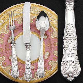 """Antique Continental .800 (nearly sterling) Silver 3pc Flatware Set, in Box: """"FW"""" Monograms, Seashell Pattern"""