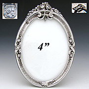 """Gorgeous Antique French Sterling Silver 4"""" Picture Frame, Ribbons, Floral Finial & Easel Stand"""