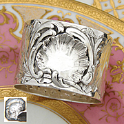 Antique French Sterling Silver Napkin Ring, Ornate Louis XVI or Rococo & Seashell Pattern