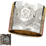 Superb Antique French Sterling Silver Napkin Ring, Empire Style Winged SWAN Figures
