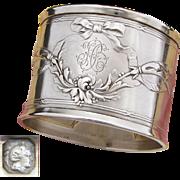 "Elegant Antique French Sterling Silver Napkin Ring, Ornate Bow & Ribbon, ""HB"" Monogram"