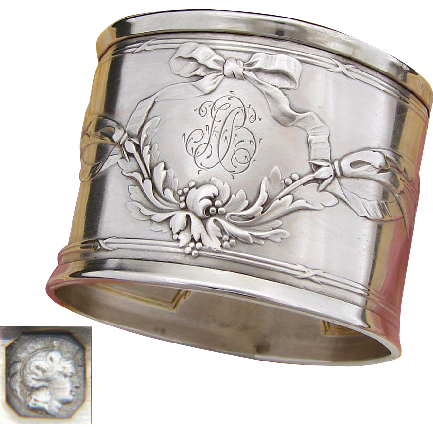 "Elegant Antique French Sterling Silver Napkin Ring, Ornate Bow & Ribbon, ""HB"" Monogram"