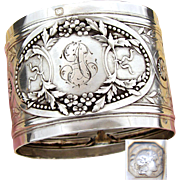 "Elegant Antique French Sterling Silver Napkin Ring: Ornate Bow, Ribbon, Floral & Acanthus: ""AT"" Monogram"