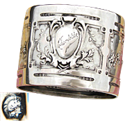"Antique French Sterling Silver Napkin Ring, Ornate Classical Style with ""Charlotte"" Inscription"