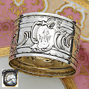"Antique French Sterling Silver Napkin Ring, Ornate Louis XVI or Rococo Pattern, ""EM"" Monogram"