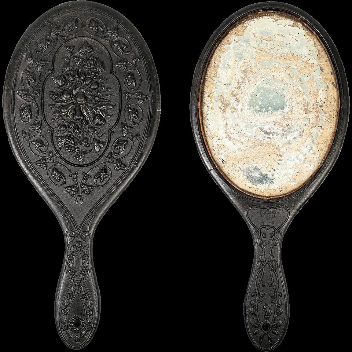 1860s Gutta Percha Vanity/Hand Mirror, Lovely Bas Relief Sculpture Effect