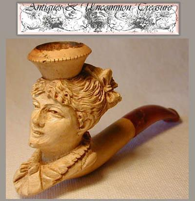 Rare 19c Carved Meerschaum Pipe, Female Bust/Profile