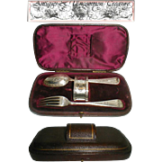 Sterling Silver Dining Flatware/Napkin Ring Set in Leather Presentation Case, 19th c.