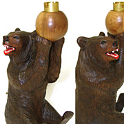 Rare Large Antique Black Forest Bear, Table or Desk Lamp Base, Wired