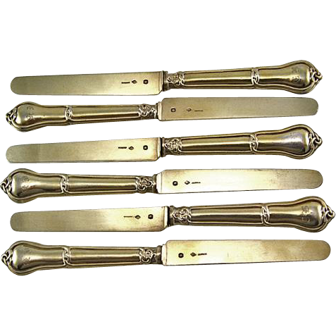 Antique French Sterling Silver 18K Vermeil 6pc Gordion Knot Fruit Knife Set - 1838 Minerve, LAPORTE, silversmith