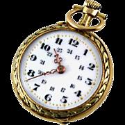 Antique 18K Gold Pendant Pocket Watch, Enamel Face, Swiss