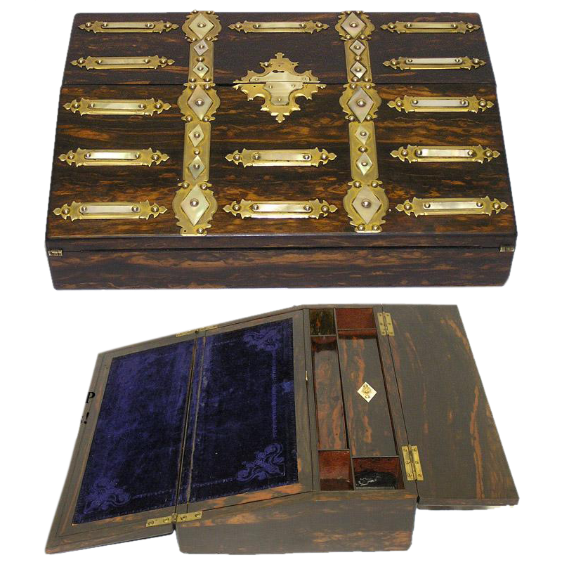 Magnificent Antique Coromandel, Bronze & MOP Ecritoire, Writer's Box or Lap Desk