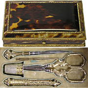 Rarest Antique French Boulle Sterling Sewing Etui, Faux Tortoise Shell ALL 5 Original Vermeil Implements