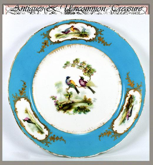 Antique Porcelain Plate, Raised Gold w/ Exotic Birds - Unsigned, 'Celeste' Blue