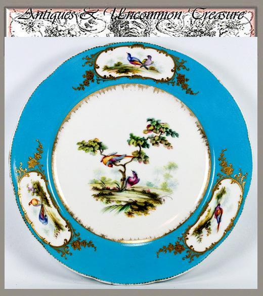 Antique Porcelain Plate, Raised Gold w/ Exotic Birds - Unsigned,  'Celeste' Blue
