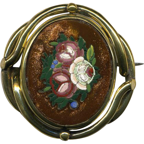 Pristine Antique Goldstone Micro Mosaic Brooch, Floral - Complete, no damage micromosaic