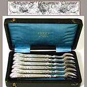 Antique French .800/1000 Silver Oyster or Shellfish Fork Set, Box - Silversmith: GIRARD, Dominique, 9, rue d'Alger, PARIS