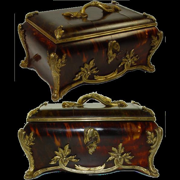 Antique French Faux Tortoise Shell & Ormolu Jewelry Casket, HUGE size - Faux Tortoiseshell
