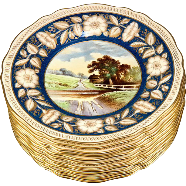 "Magnificent set of 12 Antique Spode Copeland Cabinet Plates, 9 3/8"" Cobalt & Gold, Hand Painted Pastoral Scenes"