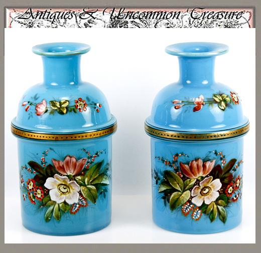 Antique French Pair Blue Opaline Vases, Enameled