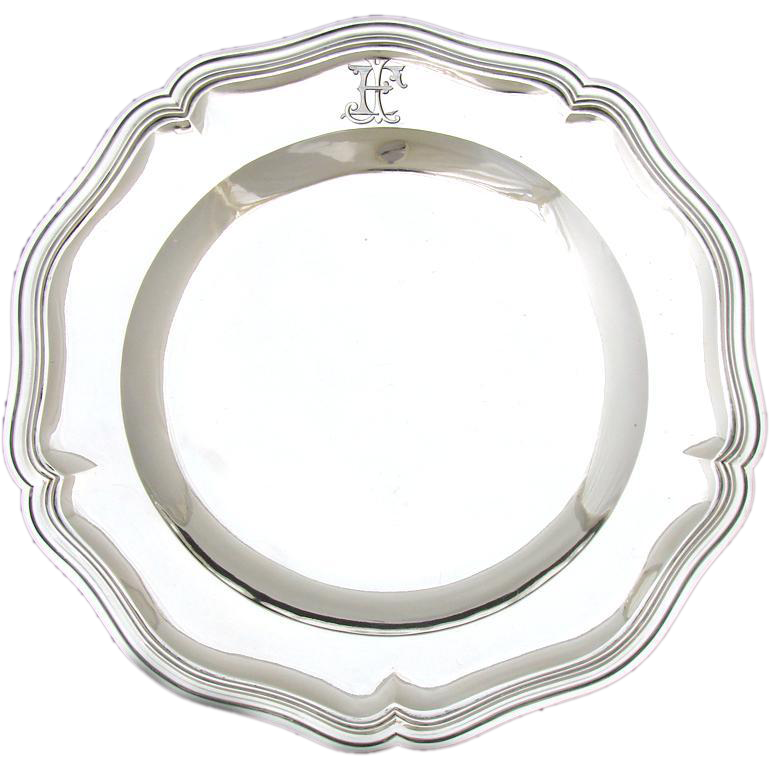 """Antique French Sterling Silver 11"""" Serving Tray: Veyrat, 620gm"""