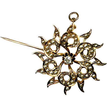 Antique 14k Gold, Diamond, Seed Pearl Brooch, Pendant