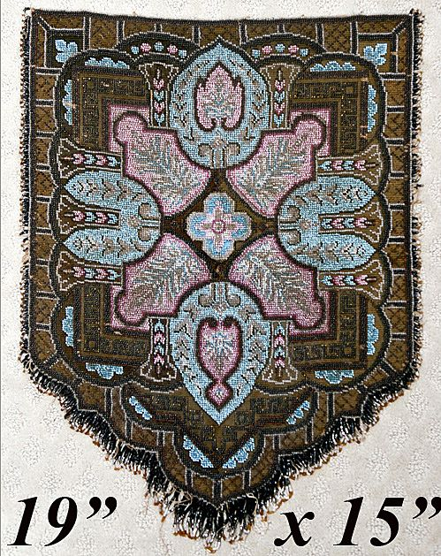 FABU Large Beadwork Needlepoint Victorian Fire Screen Panel - c. 1840-60 Masterpiece!