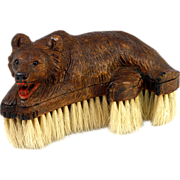 Antique Hand Carved Wood Black Forest Bear is a Crumb or Clothes Brush