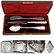 """Antique French Sterling Silver 3pc Flatware Set, in Box: """"Helene"""" Inscription"""