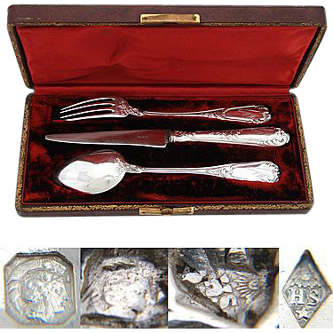 "Antique French Sterling Silver 3pc Flatware Set, in Box: ""Helene"" Inscription"