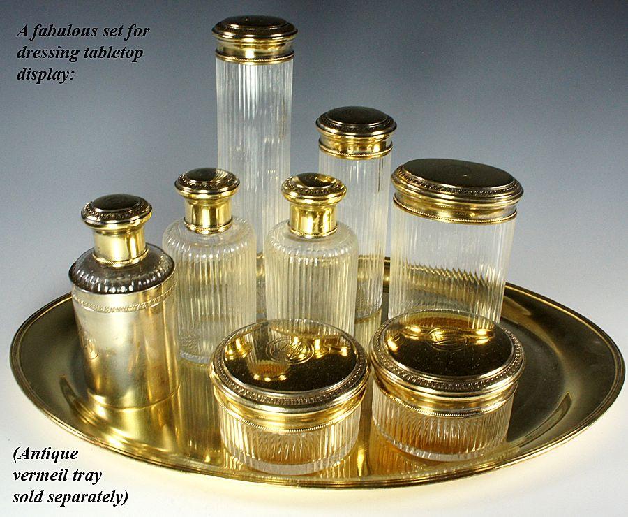 Antique French Sterling Silver 18k Vermeil Vanity Set, Sormani - P. SORMANI, maker - 7 jars, flasks