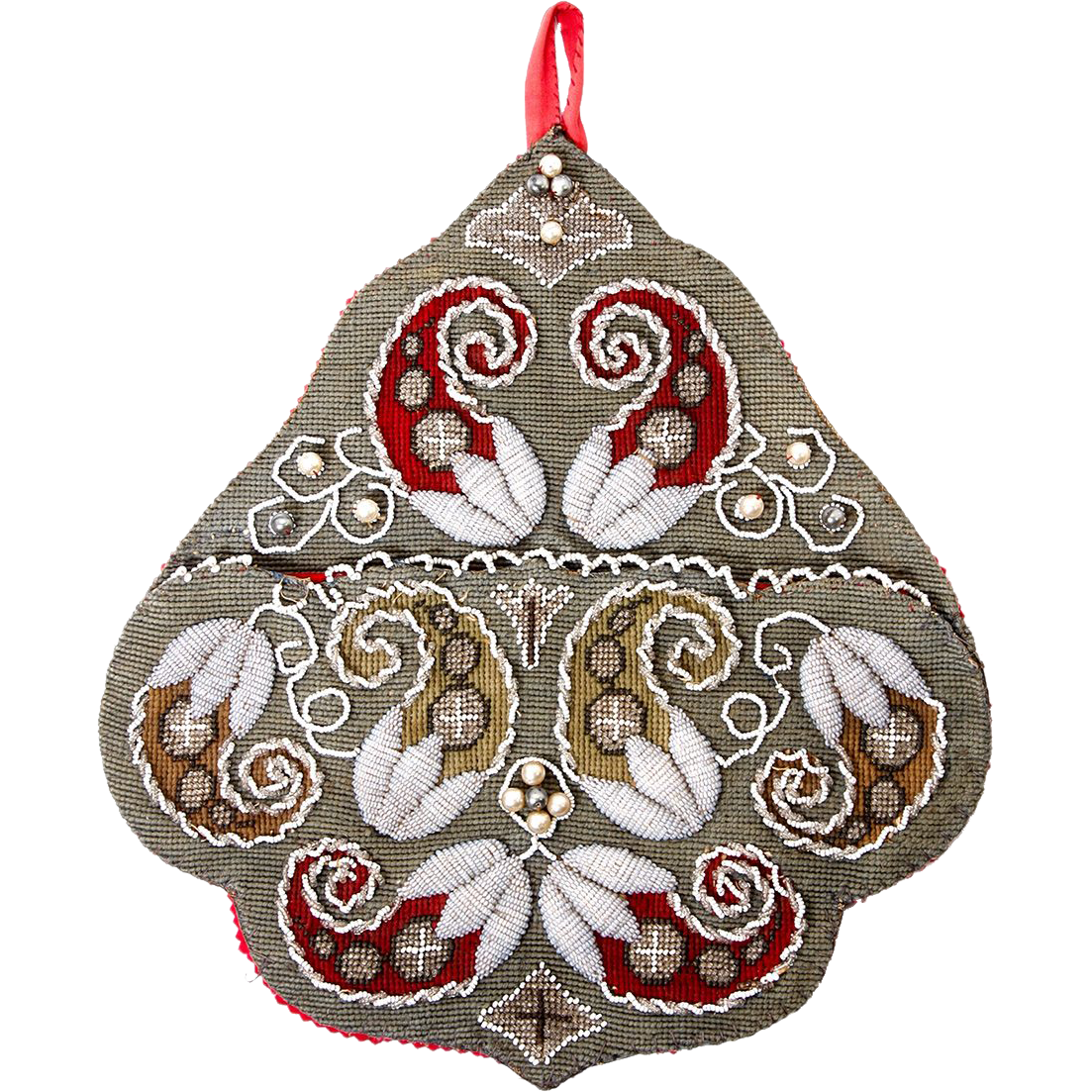 Antique Victorian Beadwork Wall Pocket, Needlepoint & 3-D Raised Embroidery Bead