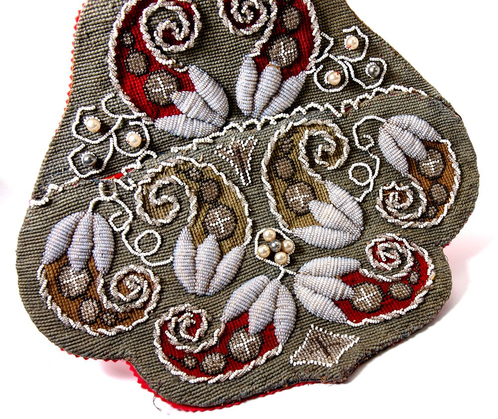 Antique Victorian Beadwork Wall Pocket, Needlepoint & 3-D Raised ...