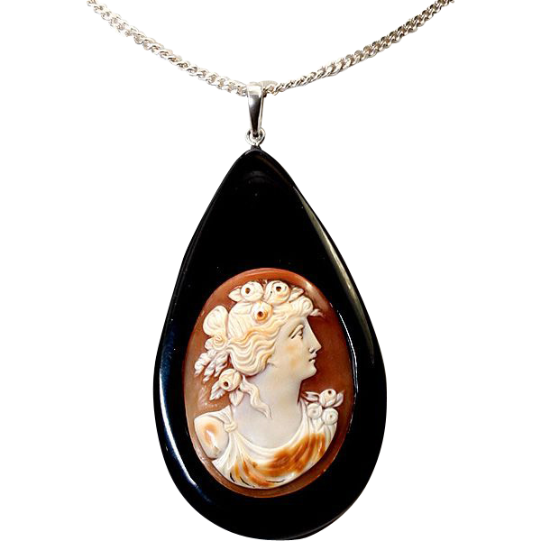 Antique Victorian - Edwardian Era Carved Shell Cameo set in Large Jet TearDrop Pendant