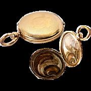 Antique Georgian to Victorian Era 14 K Gold Pocket Watch Style Locket Pendant with Hair Art, Mourning