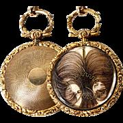 Antique Georgian to Victorian Era 14 K Gold Pocket Watch Style Locket Pendant with Hair Art, Mourning #2